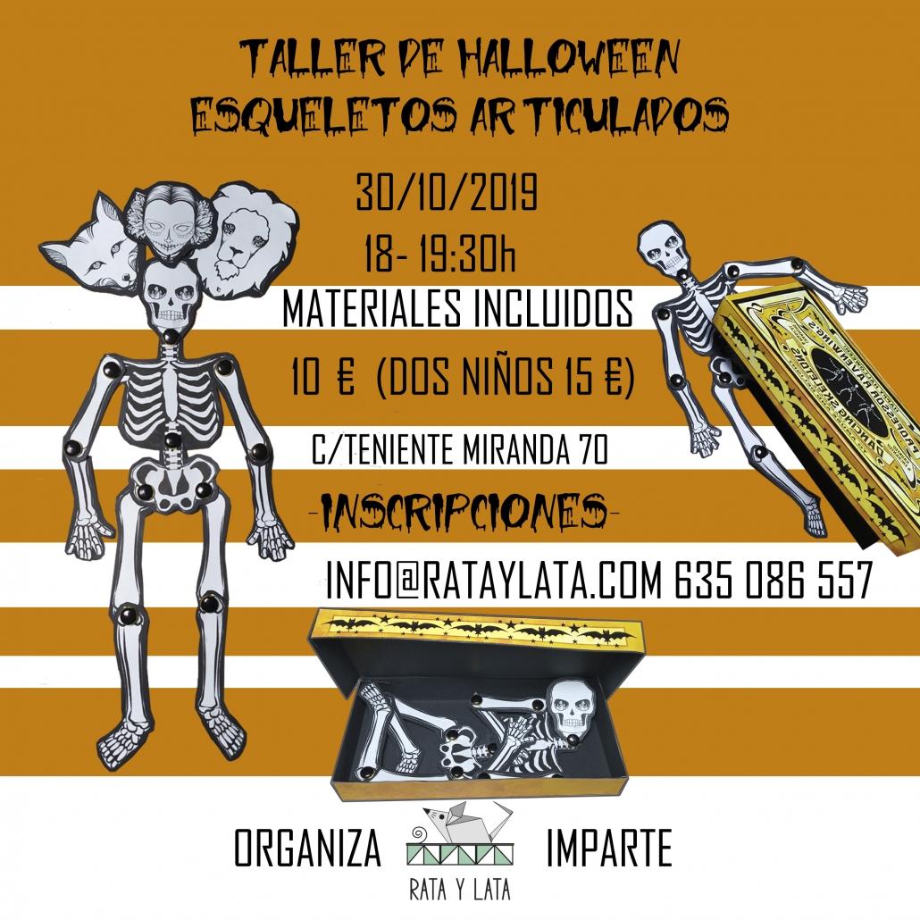 Cartel del taller infantil de halloween de esqueletos articulados en el centro de algeciras