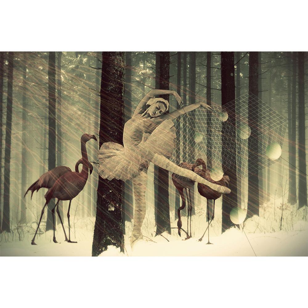 Lamina collage de Papier Colle- bailarina flamencos