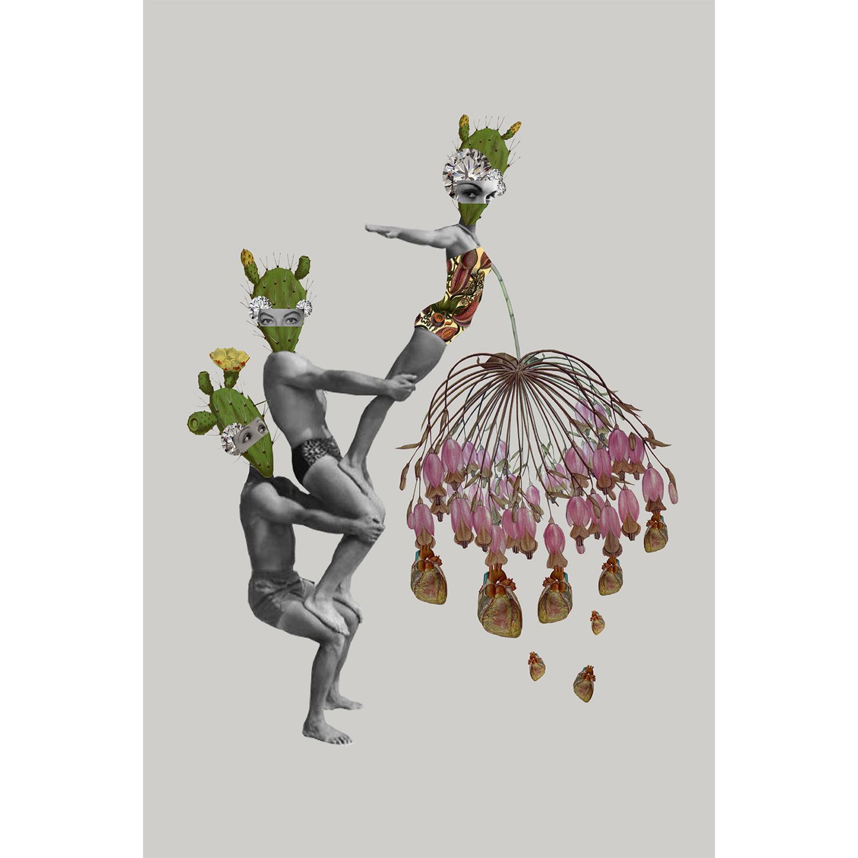 Lamina collage de Papier Colle- cactus flor