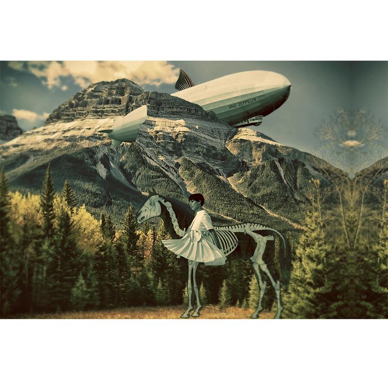 Lamina collage de Papier Colle- zeppelin caballo montaña