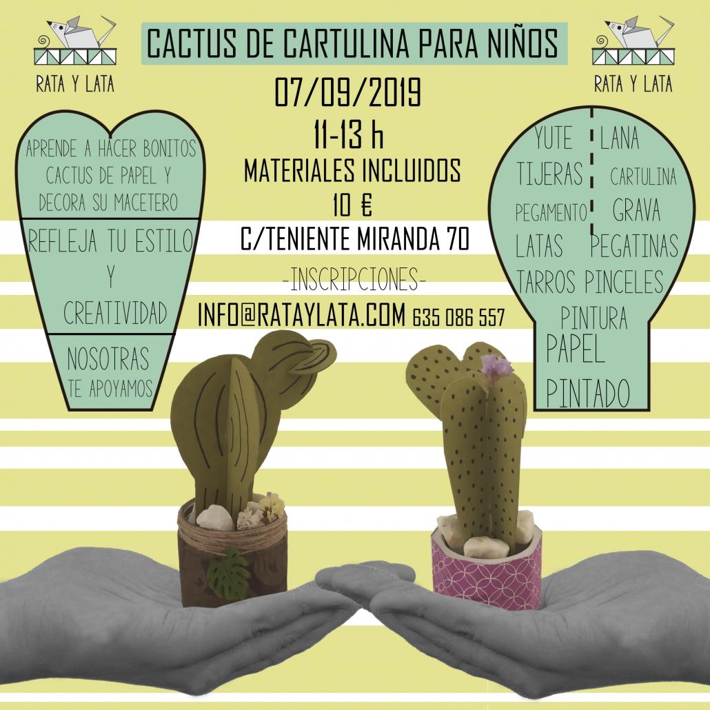 Cartel del taller infantil de cactus de papel en el centro de algeciras