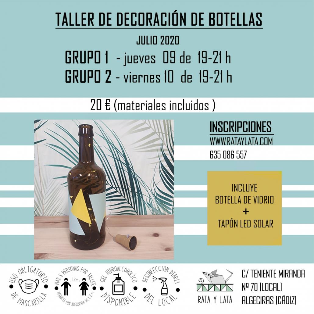 cartel taller decoracion de botellas